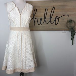 Ann Taylor Fit 'n' Flare lace overlay cream dress